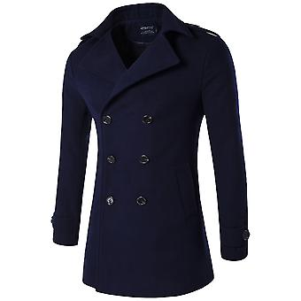 Cloudstyle Mens Trenchcoat Double-Breasted Solid Classic Overcoat