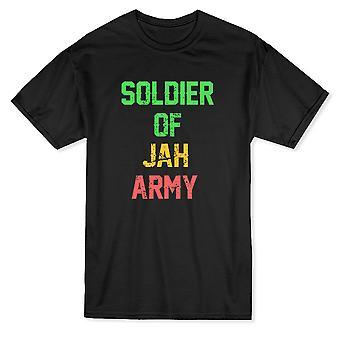 """""""Soldier Of Jah Army"""" Trendy Rastafari Quote Men's T-shirt"""