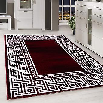 Moderno ShortFlower Rug Greek Pattern Border Living Room Red Melted