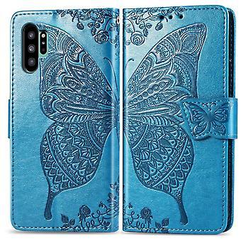 Per Samsung Galaxy Note 10 plus Custodia Blu Farfalla Fiori PU Pelle Copertina