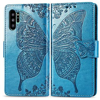 For Samsung Galaxy Note 10 + Plus Case Blå Butterfly Blomster PU skinndeksel