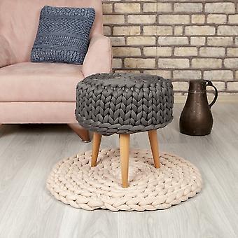Pouf Halima Dunkelgrau Farbe aus Baumwolle, Polyester, L40xP40xA45 cm