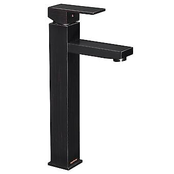 Aquaterior Modern Oil Rubbed Bronze Single Hole Tall Vessel Sink Faucet for Bathroom One Handle Mixer Faucet DIY (CUPC)