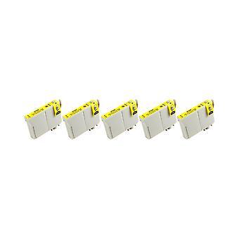 RudyTwos 5 x korvaaja Epson pöllö muste yksikkö keltainen yhteensopiva Stylus Photo 79, 1400, 1410, 1500W, P50 PX650, PX660, PX700W, PX710W, PX720WD, PX730WD, PX800, PX800FW, PX810FW, PX820FWD, PX830F