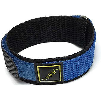 Hook and loop wrap around watch strap blue stainless steel ring 14mm and 18mm