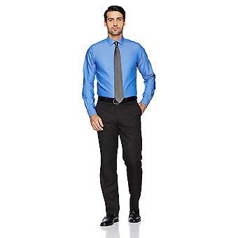 KNAPPET NED Menn's Skreddersydd Passform Spread-Collar Solid Non-Iron Dress Skjorte, Fr...