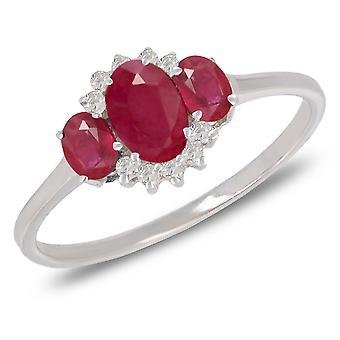 ADEN 925 Sterling Silver 3 Ruby en 10 Diamonds Ring (id 4359)
