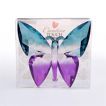 The Sparkle Collection Teal Purple Solid Plastic Crystal Effect Butterfly Ornament