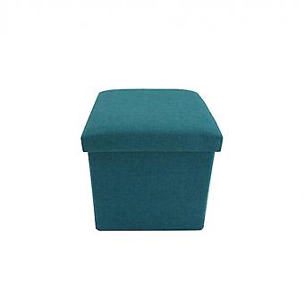 Rebecca Furniture Puff Cube Pouf Nut Blue Resealable 30x30x30