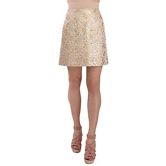 Dolce & Gabbana Gold Short Jacquard  Mini Brocade A-line Skirt -- SKI1746160
