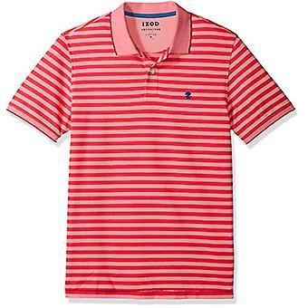 IZOD Men's Advantage Performance Short Sleeve Stripe Polo, 45sk463/Real Red, ...