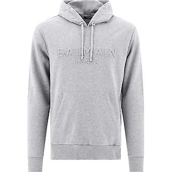 Balmain Uh03642i3369ub Men's Grey Cotton Sweatshirt