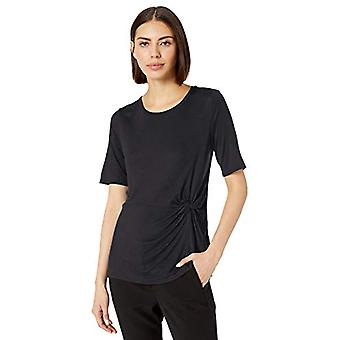 Lark & Ro Women's Crew Neck Side Knot Detail Short Sleeve Knit Top, Black,Small
