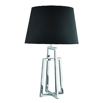 1 lichte tafellamp chroom met zwarte stoffen tint, E27