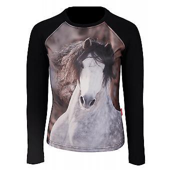 Horka Pixel Childrens Long Sleeved T-shirt - Deep Black