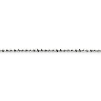 14k White Gold Solid 2.25mm Regular Rope Necklace Lobster Claw Jewelry Gifts for Women - Length: 16 to 30