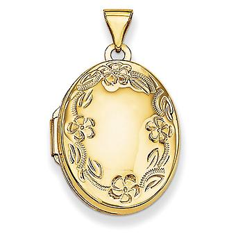 14k Yellow Gold Polished Holds 2 photos Hand Engraved Locket Jewelry Gifts for Women - 1.4 Grams
