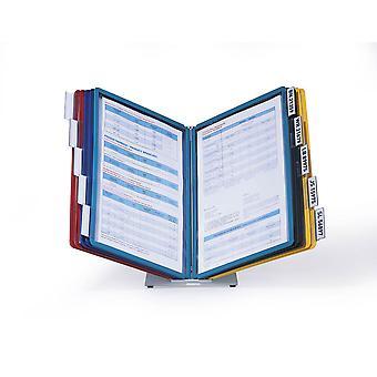 Duurzaam 557000 Tafeldisplaypaneelsysteem (Vario Tabel 10, met 10 kijkpanelen A4) veelkleurig