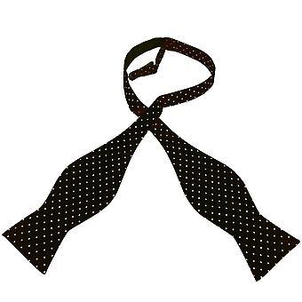 Lazos Planet Oro Etiqueta En negro y blanco Polka Dot Impreso Seda Hombres 's Self Tie Bow Tie