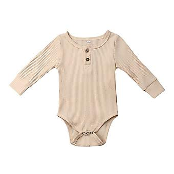 Newborn Infant Baby Ribbed Bodysuit Ruffle One-pieces Solid Jumpsuit Long