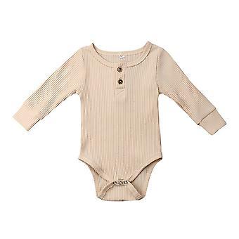 Nyfödda Infant Baby Girl Boy Ribbed Bodysuit Ruffle Ett stycke Solid Jumpsuit