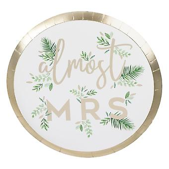 Goil Foiled Almost Mrs Botanical Hen Party Paper Plates x 8