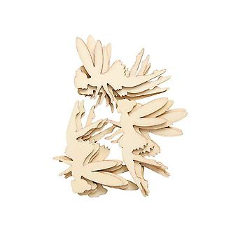 LAST FEW - 12 Wooden 60mm Fairy Papercraft Embellishments | Card Making Toppers & Scrapbooking Supplies
