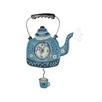 Allen Designs Vintage Blue Tea Kettle Decorative Pendulum Wall Clock