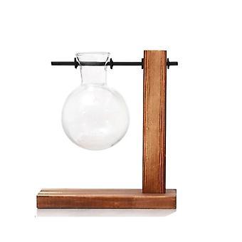 Terrarium hydroponische Pflanze transparente Vasen - Blumentopf Vase, Holzrahmen