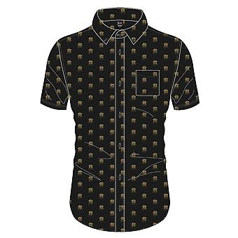 Queen Camisa Classic Crest Band Logo All Over Print nuevo Oficial Hombres Negro