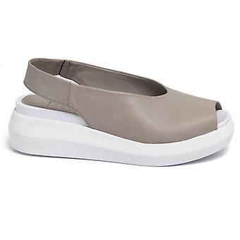 Sandal Donna Why More? Leather Grey