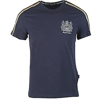 Aquascutum Shoulder Stripe Navy T-Shirt