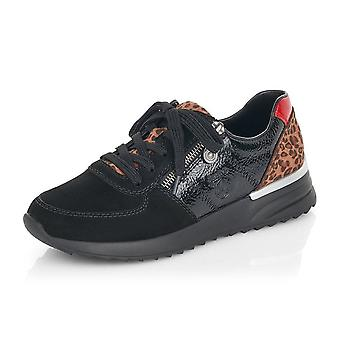 Rieker N8024-00 Ebrill Smart Casual Lace-up Memosoft Trainers In Black