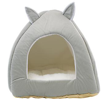 DIGFILEX Grå nallebjörn stil Pet Bed – Fleece Katt Säng Hut - 40 x 40 x 35cm
