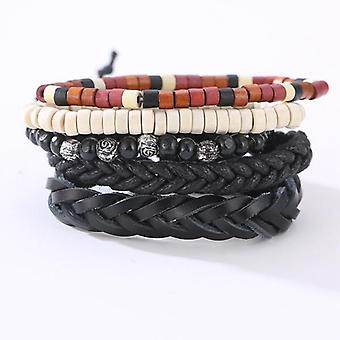 Vintage Leather Bracelet Weave Braided Multilayer Adjustable Wood Beaded