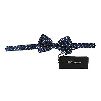 Blue polka dots silk adjustable neck butterfly mens bow tie