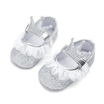 Vastasyntynyt vauva prinsessa pitsi kruunu kengät paljeted puuvilla pehmeä pohja pinnasänky Prewalker