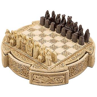 Isle Of Lewis Compact Celtic Chess Set 9 Inches in Ivory