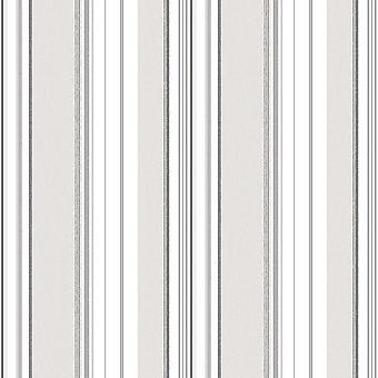 ENGLISH FLORALS STRIPED WALLPAPER GREY