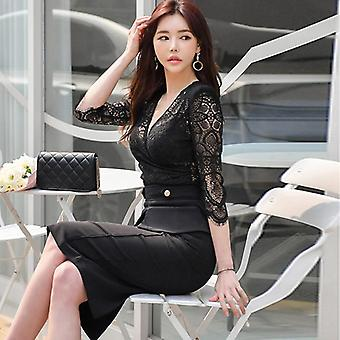 Queen Women's Summer Suits V-neck Hollow Out Lace Shirt Crop Top Sheath Bodycon