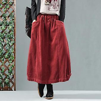 春秋のスカート レトロ 女性 弾性 ウエスト ルーズ ポケット ボタン ソリッド カラー