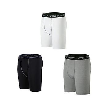 3 Packs homme's compression shorts de sport (noir + ligne grise / blanc / gris) XXL