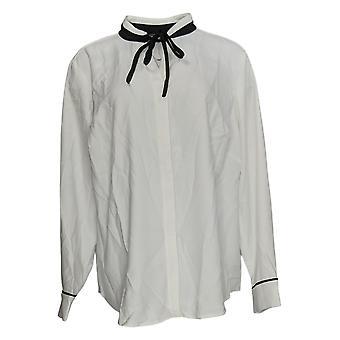 Elizabeth & Clarke Women's Plus Top StainTech Tie Collar White A353170