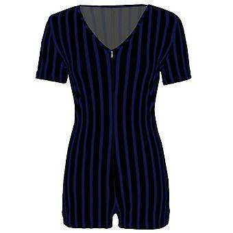Women Deep V-neck Bodycon Romper Sleepwear Short Sleeve Sexy Jumpsuit
