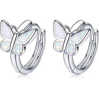 Sterling Silver Earrings for Women, Butterfly Star and Moon Hoop Earrings