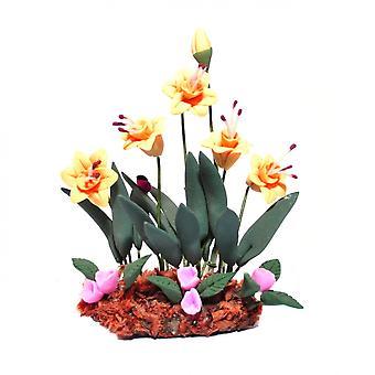 Dolls House narsissit kukat jauhettu ruoho miniatyyri puutarha kasvi lisävaruste