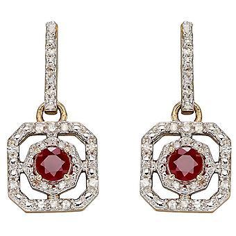 Elementos oro rubí y Dimond Art Deco Pendientes - Oro / Claro / Rojo