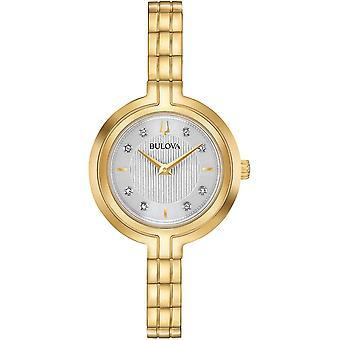 ブローバ97P144レディースラプソディクラシックゴールドトーンダイヤモンド腕時計