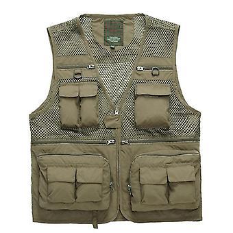 Outdoor Summer Tactical Fishing Vest Jackets, Men Safari Jacket, Multi Pockets,