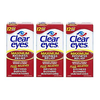 Yeux clairs maximum rougeur relief Eye DROPS 3 Pack